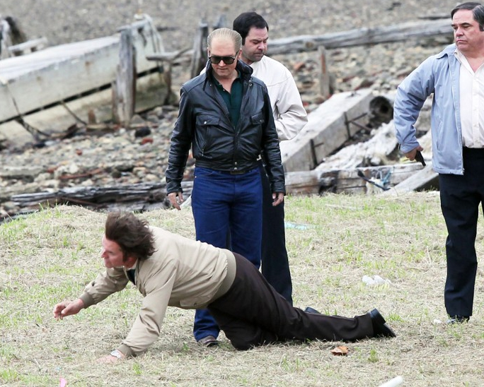 51431465 Actor Johnny Depp is back in costume as Whitey Bulger as filming resumes on 'Black Mass' in Boston, Massachusetts on May 27, 2014. Johnny and his co-stars are seen filming a violent execution style scene! FameFlynet, Inc - Beverly Hills, CA, USA - +1 (818) 307-4813